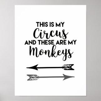 Poster C'est mon cirque que ce sont mon affiche de singes