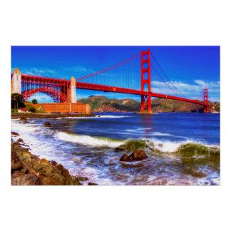 Poster C'est une image de HDR de 3 tirs du Golden Gate