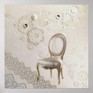 Poster chaise rococo Paris de lustre girly romantique