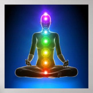 Poster chakra, sept chakras, système énergétique, symbole