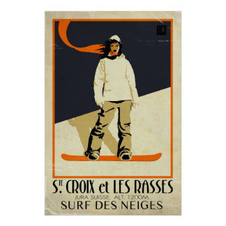 Poster Chambre. Croix et Les Rasses - effet vintage