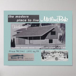 Poster Chambre moderne de la moitié du siècle de gagnant