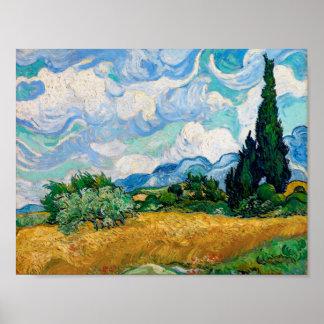 Poster Champ de blé avec des cyprès par Vincent van Gogh