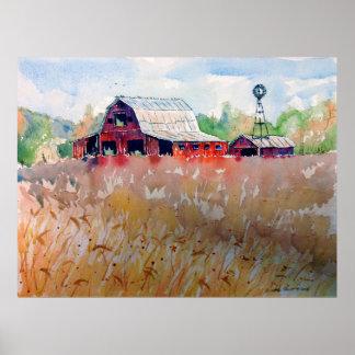 Poster Champ de blé de l'Indiana et vieille grange rouge