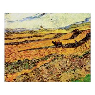 Poster Champ de Van Gogh avec le laboureur et le moulin,