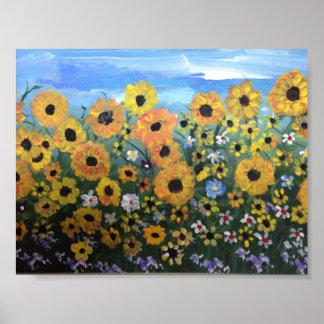 Poster Champ des fleurs saluant le ciel