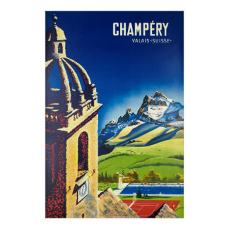 Poster Champéry, Valais, Suisse, affiche de ski