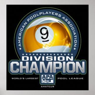 Poster Champions de Division de boule d'APA 9