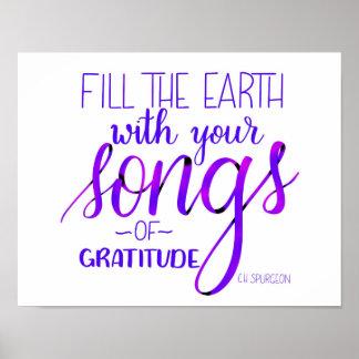 Poster Chansons de gratitude, C.H. Spurgeon Quote,