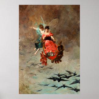 Poster Char des hirondelles par Alexandre Louis Leloir