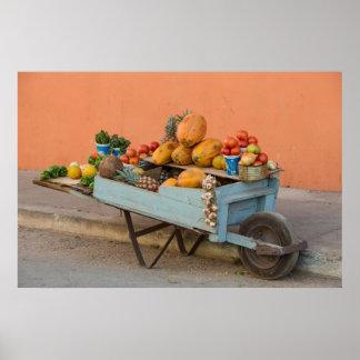 Poster Chariot de fruits et légumes, Cuba