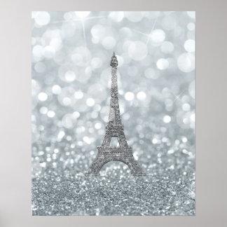 Poster Charme argenté de Tour Eiffel de Bling d'étincelle