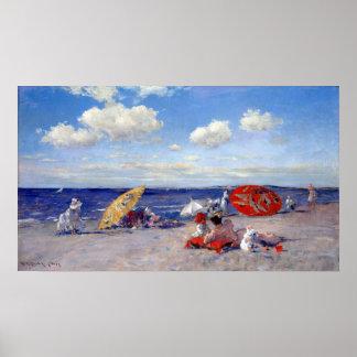 Poster Chasse de William Merritt au bord de la mer
