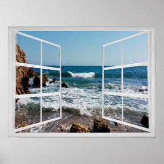 Poster Châssis de fenêtre avec la côte et les vagues