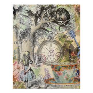 Poster Chat Alice de Cheshire au pays des merveilles