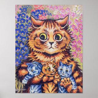 Poster Chat avec des chatons, Louis Wain