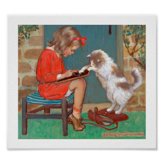 Poster Chat avec une fille, Jessie Willcox Smith
