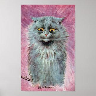 Poster Chat bleu russe, Louis Wain