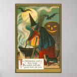 Poster Chat de batte de Jack-o'-lantern de chaudron de ba