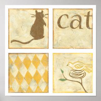 Poster Chat de Brown et oiseau jaune par Chariklia Zarris