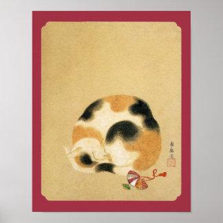 Poster Chat de calicot japonais, Hanabusa Itchō