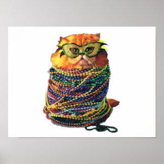 Poster Chat de carnaval - chat coloré - chats drôles