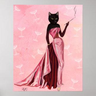 Poster Chat de charme dans le rose