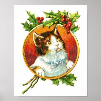Poster Chat de fantaisie avec Noël vintage de la baie  