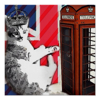 Poster chat de minou de couronne de cabine téléphonique