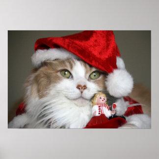 Poster Chat de Père Noël - chat de Noël - chatons mignons