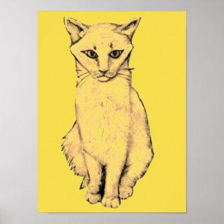 Poster Chat jaune