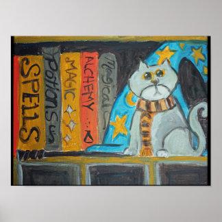 Poster Chat magique d'art populaire de magicien