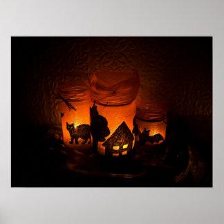 Poster Chat noir de Halloween avec des lumières et des