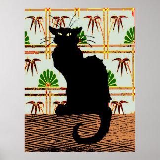 Poster Chat noir sur le papier peint japonais,