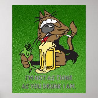 Poster chat potable de bière