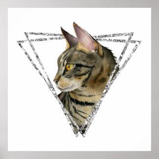 Poster Chat tigré avec le cadre de parties scintillantes