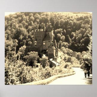 Poster Château d'Eltz de Burg -- Noir et blanc