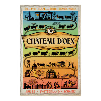 Poster Château-d'Oex, Vaud, Suisse, affiche de voyage