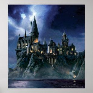 Poster Château   Hogwarts éclairé par la lune de Harry