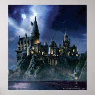 Poster Château | Hogwarts éclairé par la lune de Harry