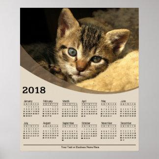 Poster Chaton 2018 étendant le calendrier d'affiche