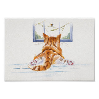 """Poster Chats/chatons de gingembre : """"Lèche-vitrines """""""