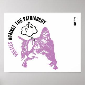 Poster Chats contre l'affiche d'art de mur de patriarcat