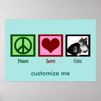 Poster Chats Teal mignon d'amour de paix