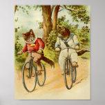 Poster Chats vintages montant l'illustration de
