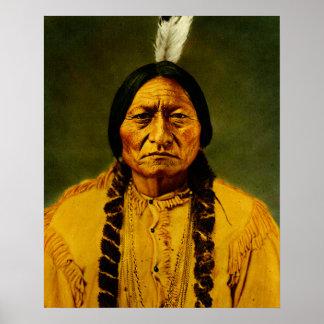 Poster Chef indien indigène de Taureau de séance