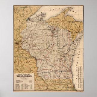 Poster Chemin de fer vintage Map (1900) du Wisconsin