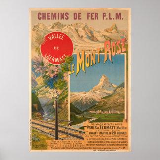 Poster Chemins de fer P.L.M le Mont Vallee rose De