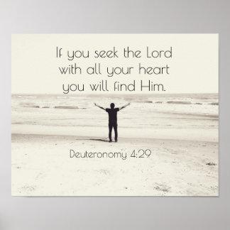 Poster Cherchez le seigneur, vers Deuteronomy, plage de