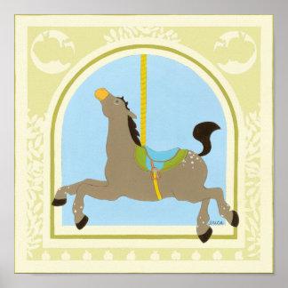 Poster Cheval avant juin Bruyère Vess de carrousel